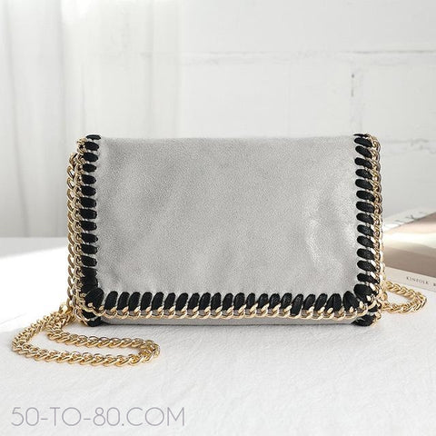 """Stitched in Chains"" - Womens Chainlink Strap Crossbody Fashion Purse-Purses-50-TO-80-Gray gold-(20cm<Max Length<30cm)-50-TO-80"