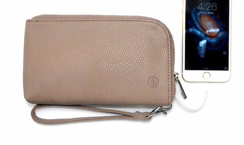 Power Purse - Leather Clutch Purse with Internal Battery Bank for iPhone and Android Phones-Purses-50-TO-80-BROWN-50-TO-80