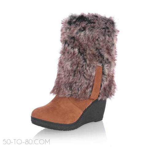 Suede Fold-Over Fur Winter Women's Fashion Winter Boots-Womens Shoes-50-TO-80-50-TO-80