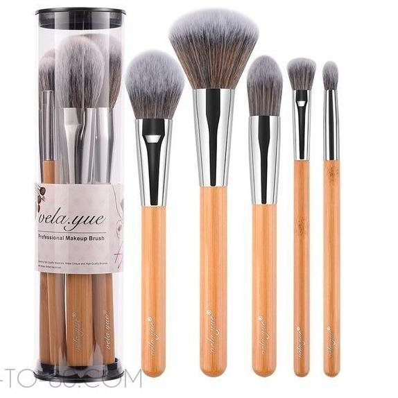 50-to-80 Makeup Brush Set - 5 Piece Bamboo Brushes/Beauty Tools