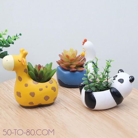 Zoo Minis - Small Ceramic Succulent and Plant Holders (1PC EA) - Animal Character - Planter-Fun Planters-50-TO-80-50-TO-80