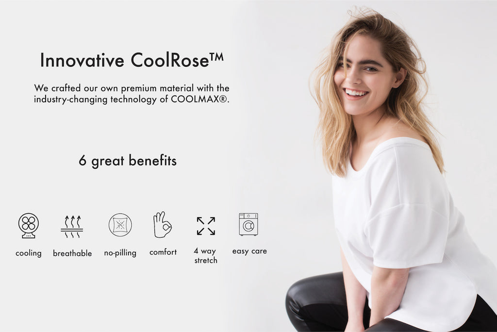 Innovative essentials from See Rose Go featuring cooling wicking material CoolRose