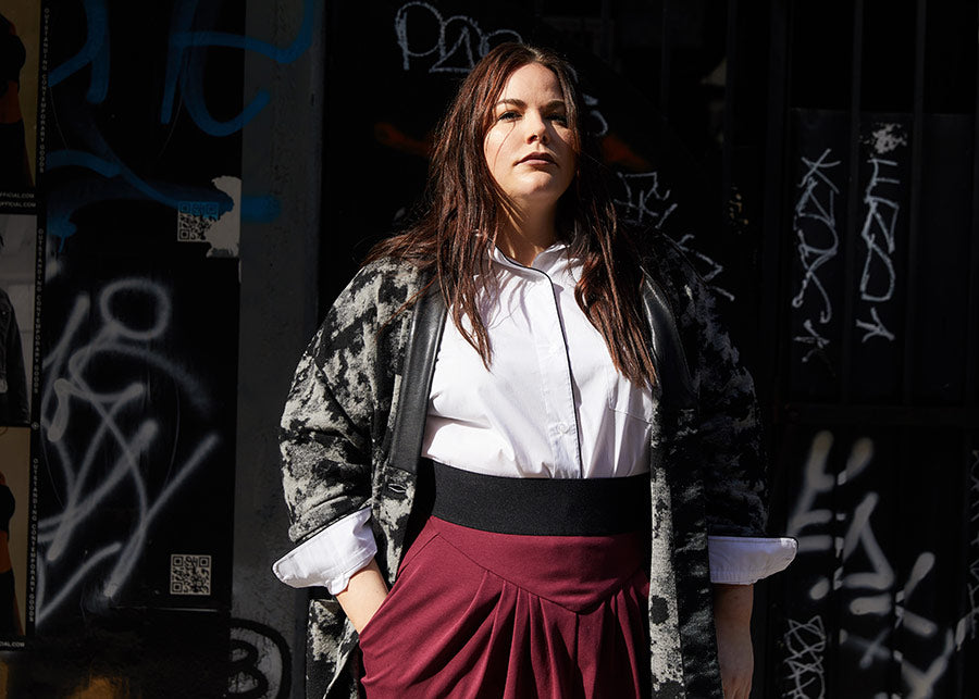 Matt Sayles street style photography for Plus Size Fashion brand See Rose Go and Lexi Stout in innovative essentials and timeless style