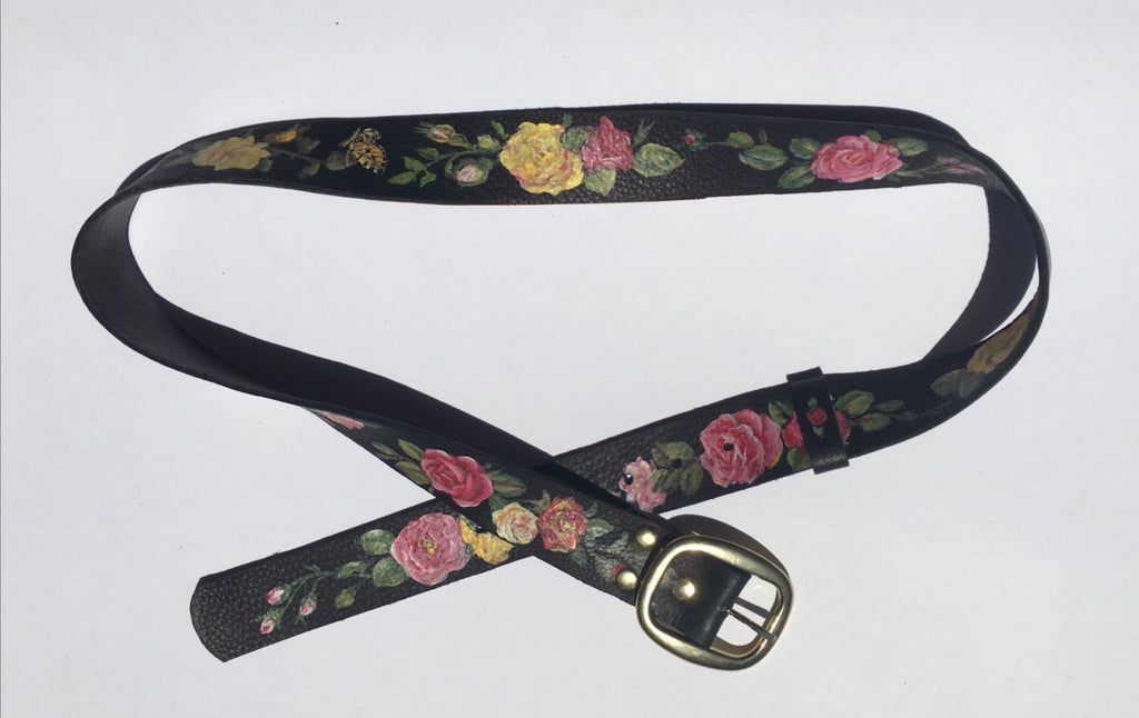 Handmade & Hand-Painted Black Leather Belt with Roses