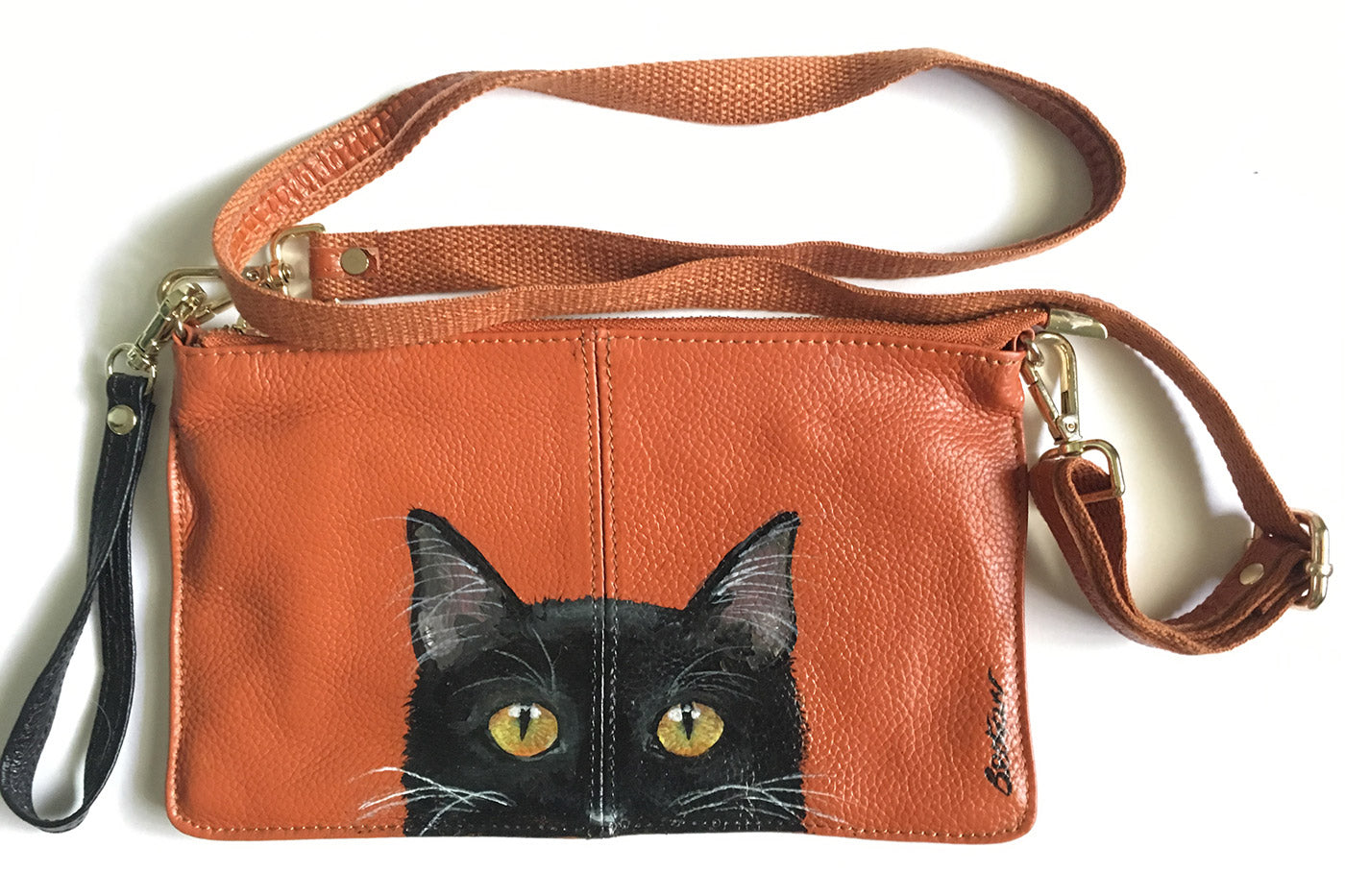 Hand-Painted Leather Cross Body Bag - Cats