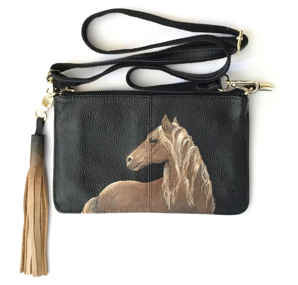 Hand-Painted Leather Cross Body Bag - Horses