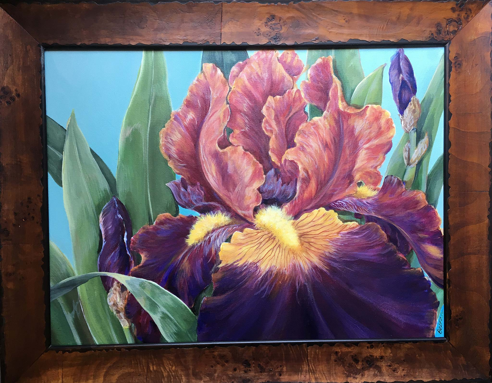 "Iris Acrylic Painting 18"" x 24"" with Wooden Frame"