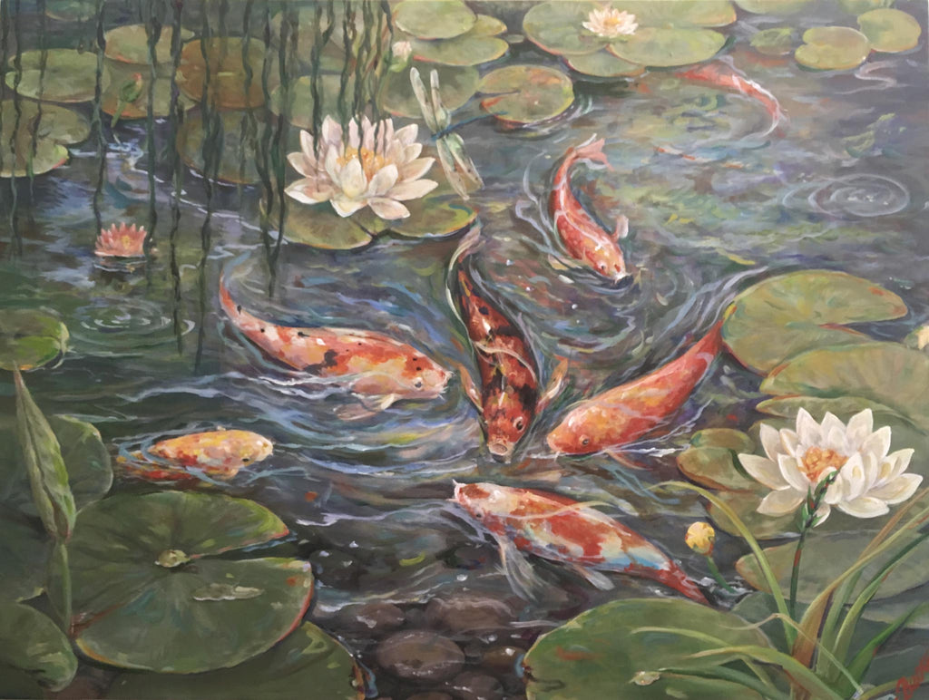 "Koi Fish Acrylic Painting 36"" x 48"""