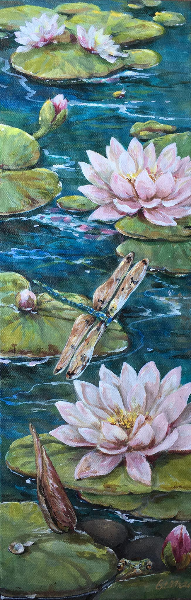 "Lily Pad & Dragon Fly Acrylic Painting 8"" x 20"""