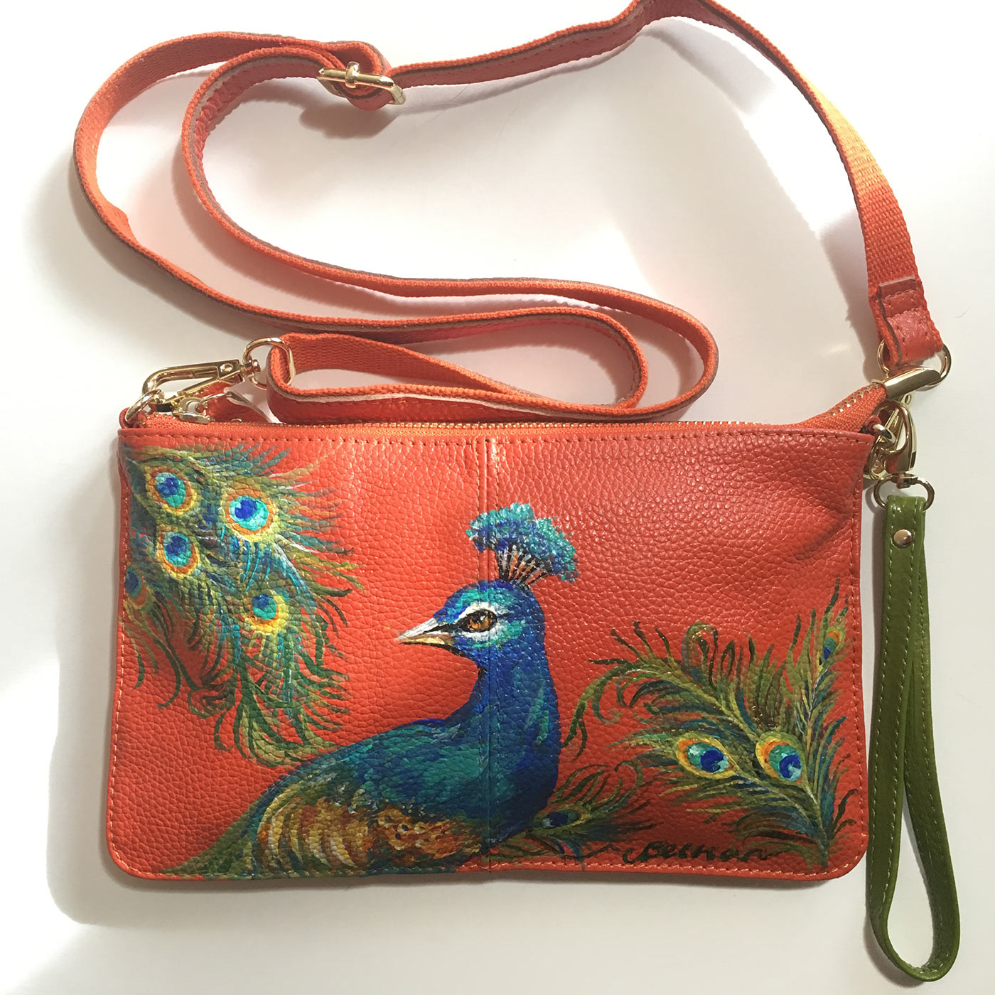 Hand-Painted Leather Cross Body Bag - Birds
