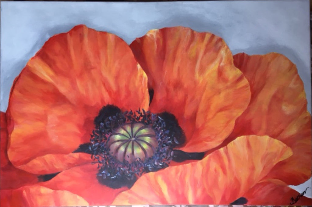 "Red Poppy Acrylic Painting 24"" x 36"""