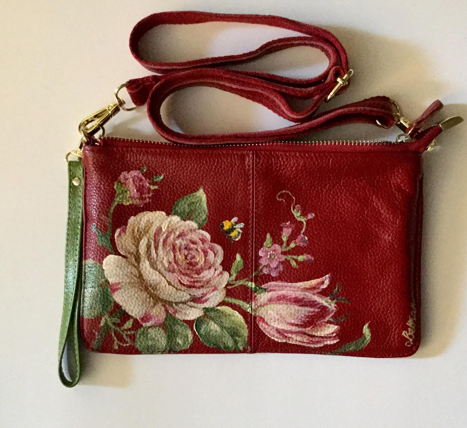Hand-Painted Leather Cross Body Bag - Flowers