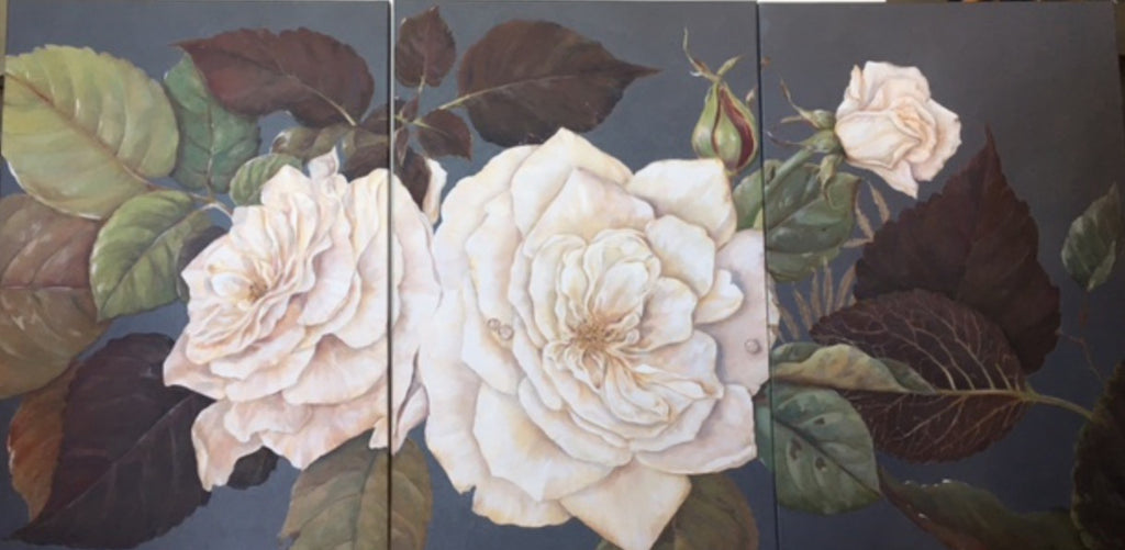 "White Roses Trip Tych Acrylic Painting 24"" x 36"" (each panel)"