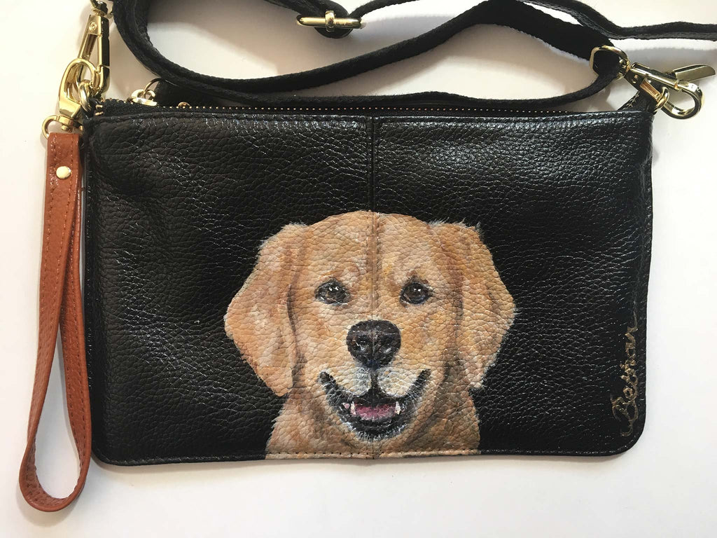 Hand-Painted Leather Cross Body Bag - Dogs