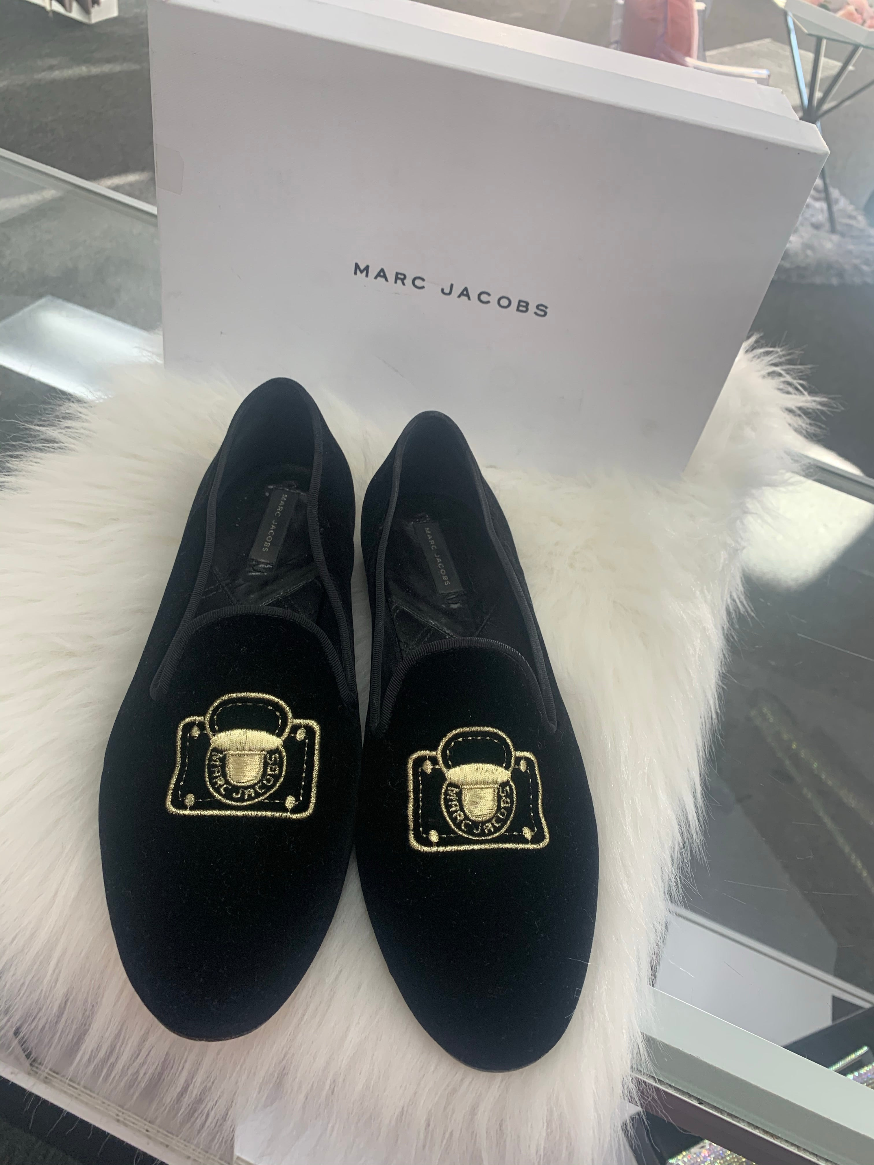 Marc Jacobs Velvet Plush Signature Loafers