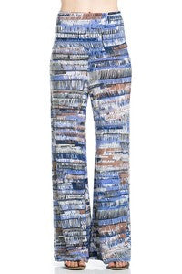 Lt. Blue Patterned Palazzo Pants