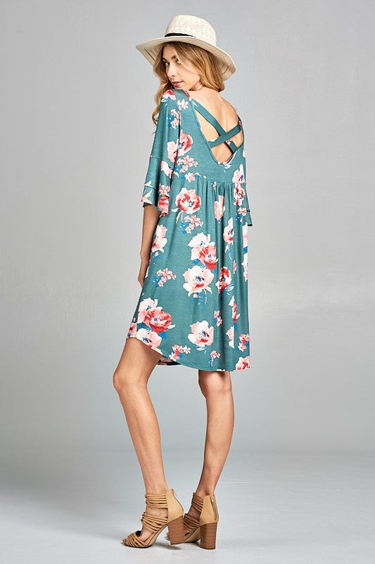 Floral Baby Doll Dress w/Bell Sleeve