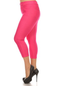 Cotton-Blend 5-Pocket Skinny Capri Jeggings