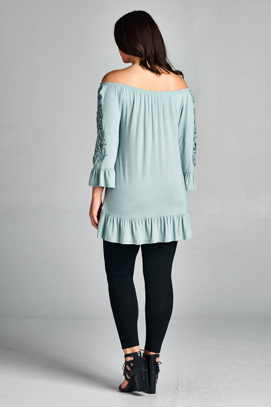 OTS Lace Sleeve Top
