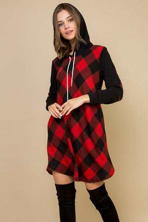 Buffalo Plaid Hoodie Swing Dress