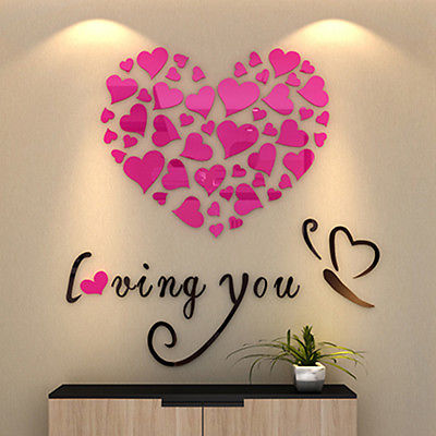 3D Acrylic Crystal Loving Heart Quote Wall Stickers - DIGFORDEALS