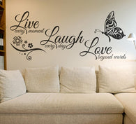 Live Laugh Love Butterfly Flower Wall Art Sticker - DIGFORDEALS
