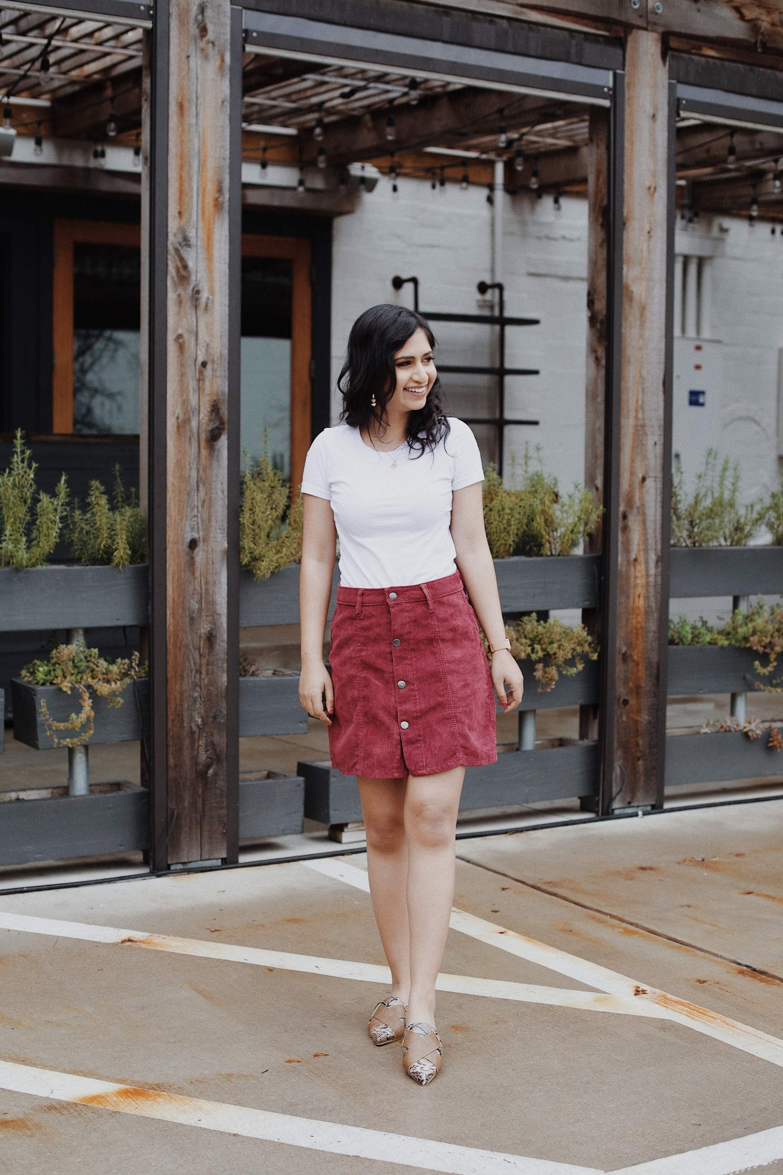 Madison Corduroy Button Down Skirt
