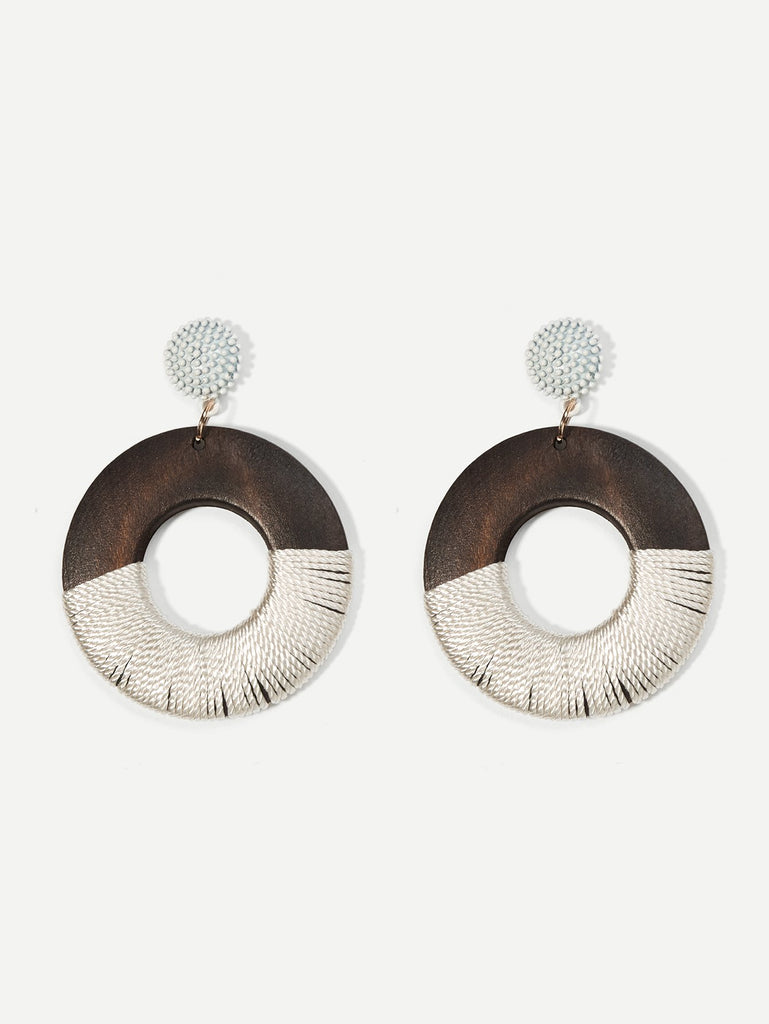 Two Toned White and Brown Wooden Earrings $10