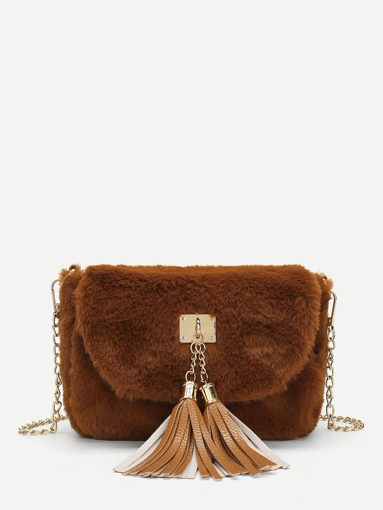 Brown Faux Fur Crossbody Handbag with Gold Chain $21