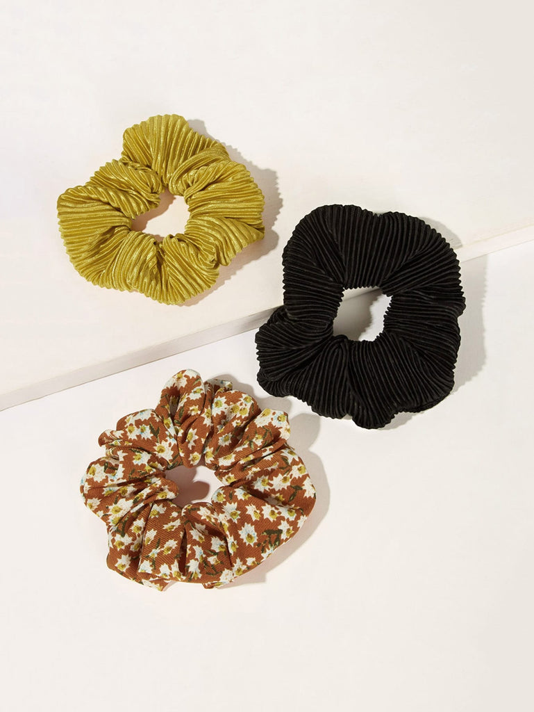 Black, Green and Floral Pleated Scrunchies $5