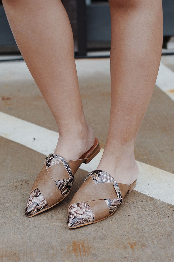 Brown Snake Skin Mule Shoes $35
