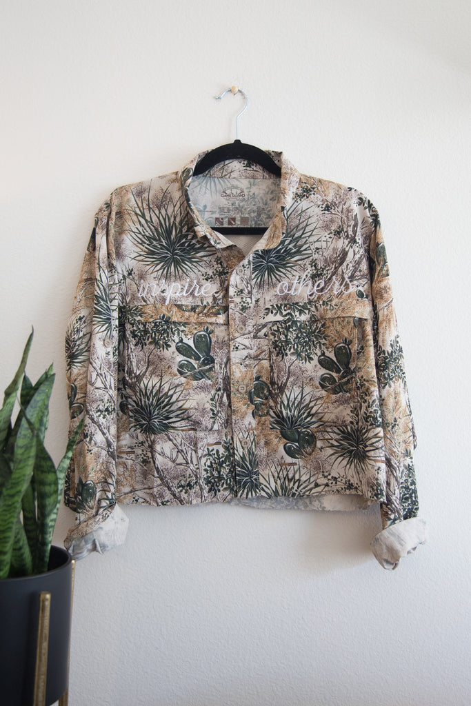 "Cactus Print Button Down Crop Top with ""Inspire Others"" Embroidered on the Front $50"