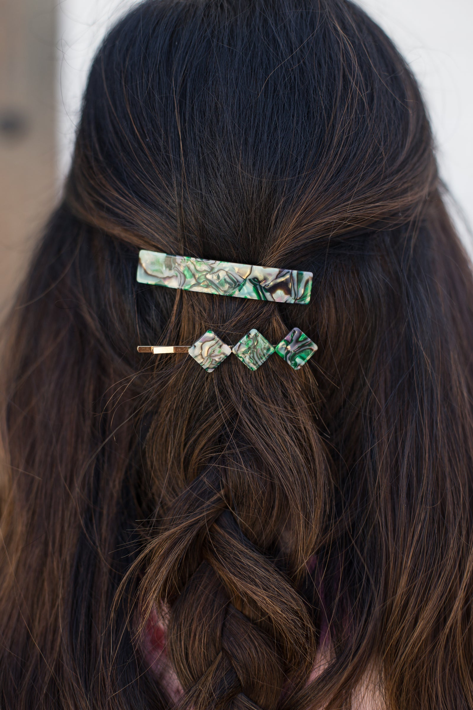 Geometric Green Marble Pattern Hair Clip