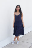 navy midi sundress