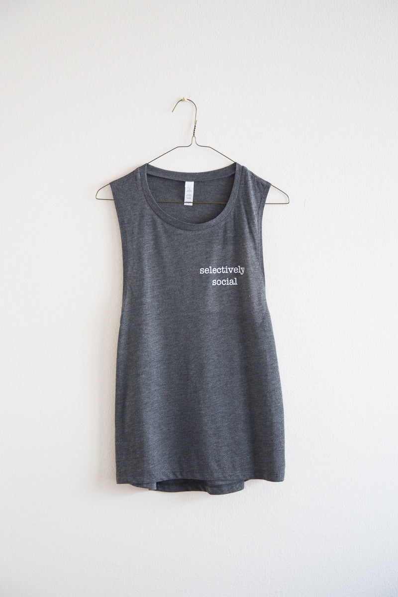 gray selectively social tank top