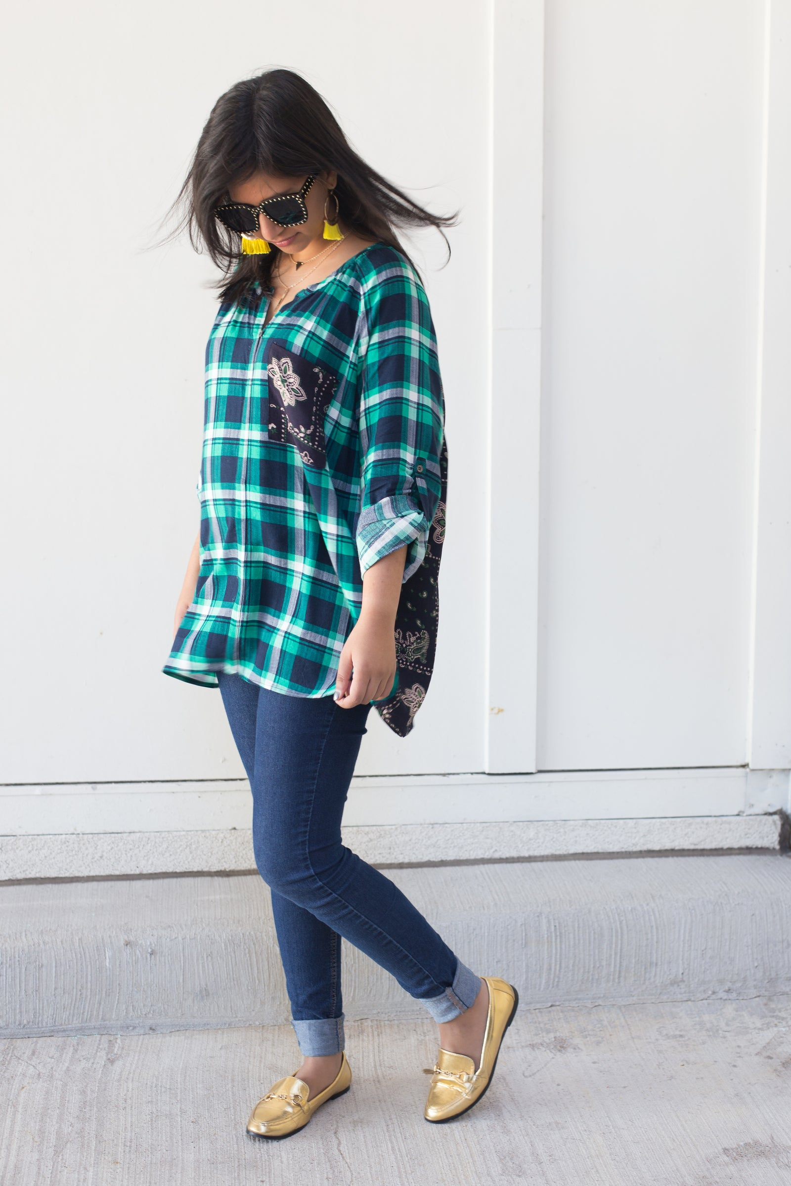 plaid shirt with paisley print on the back