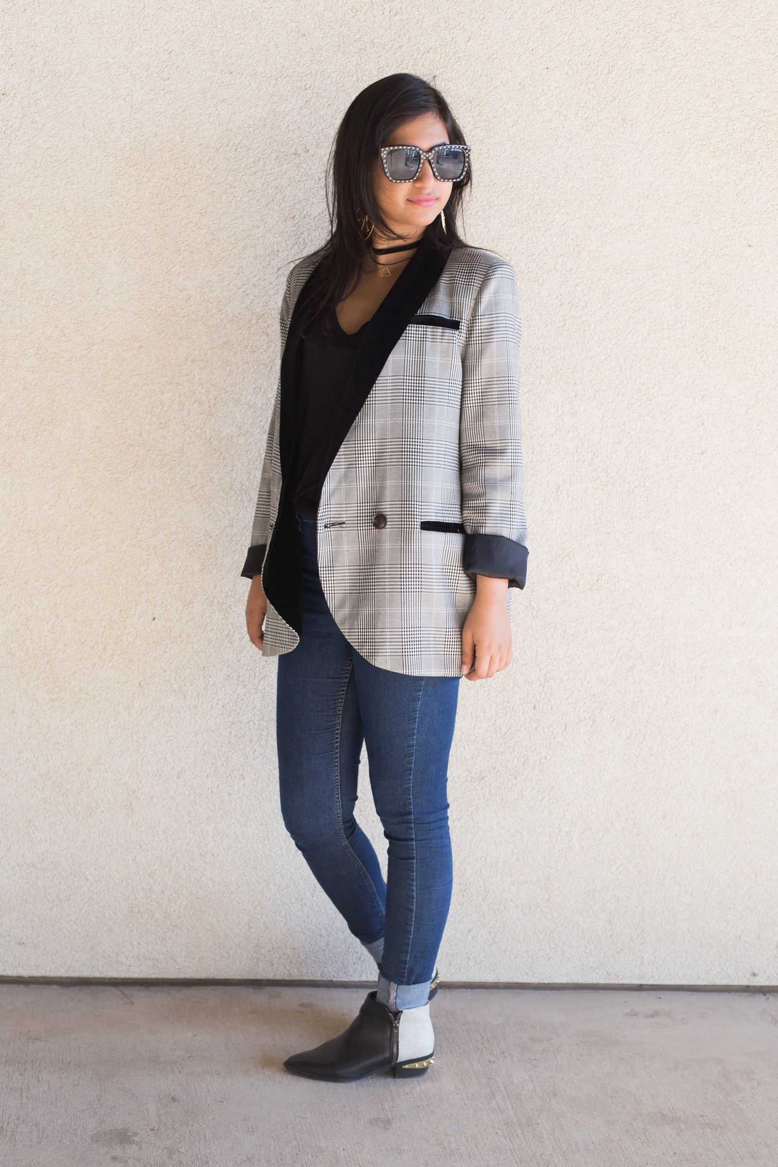 velvet plaid blazer
