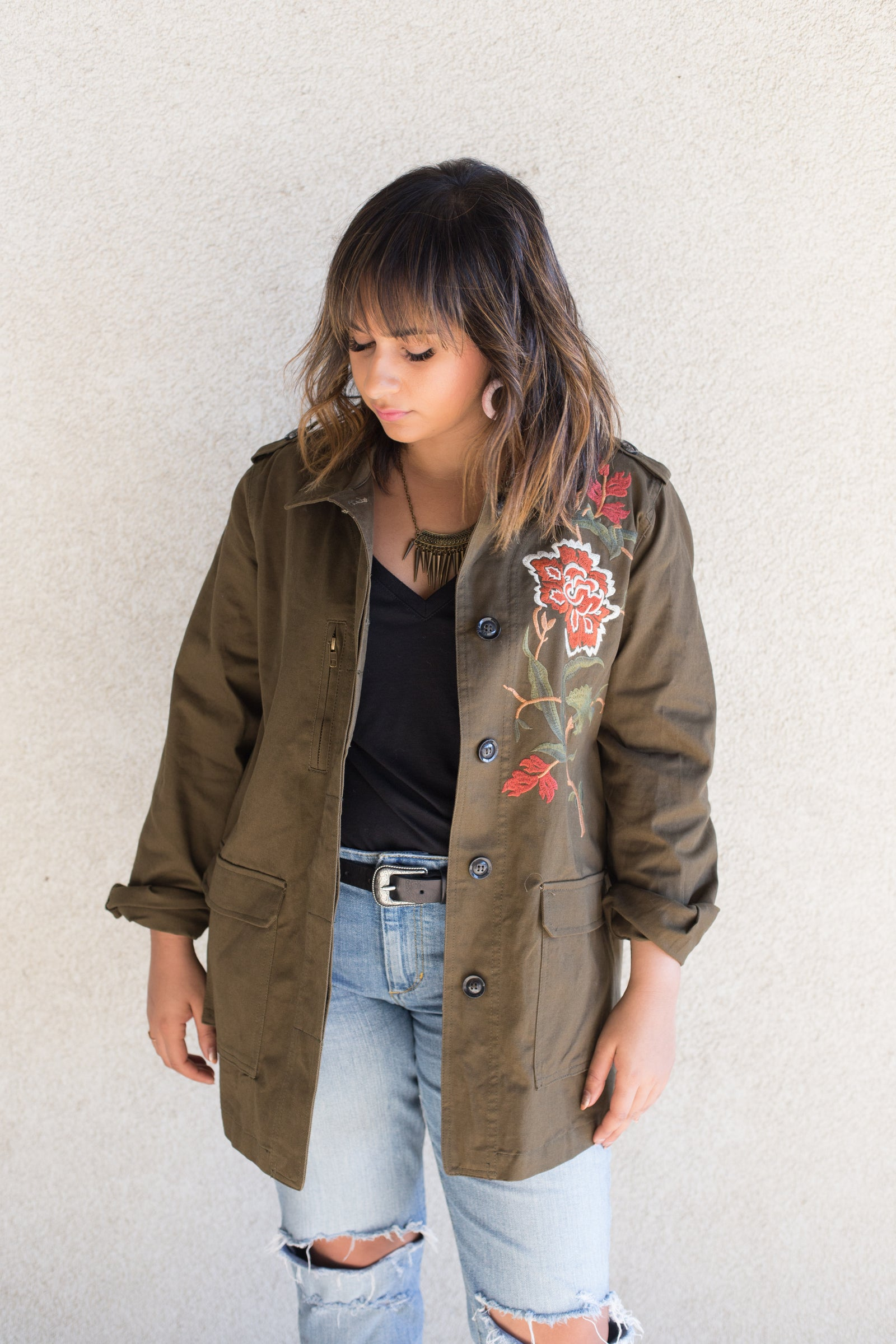 green military jacket with floral embroidery