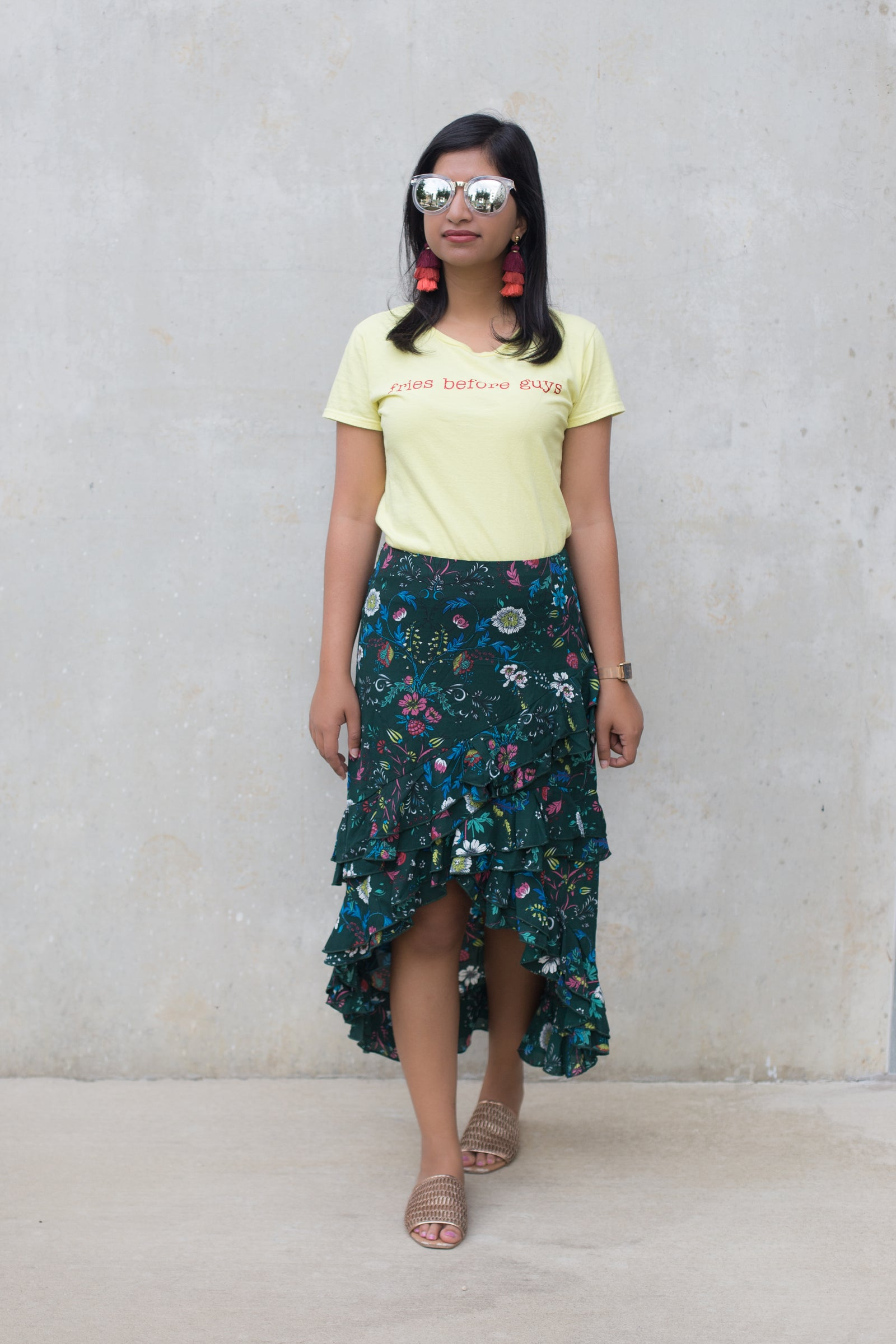 Jade Floral Hi Low Skirt