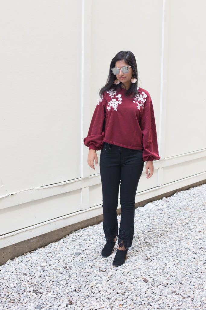Maroon Embroidered Sweatshirt $35