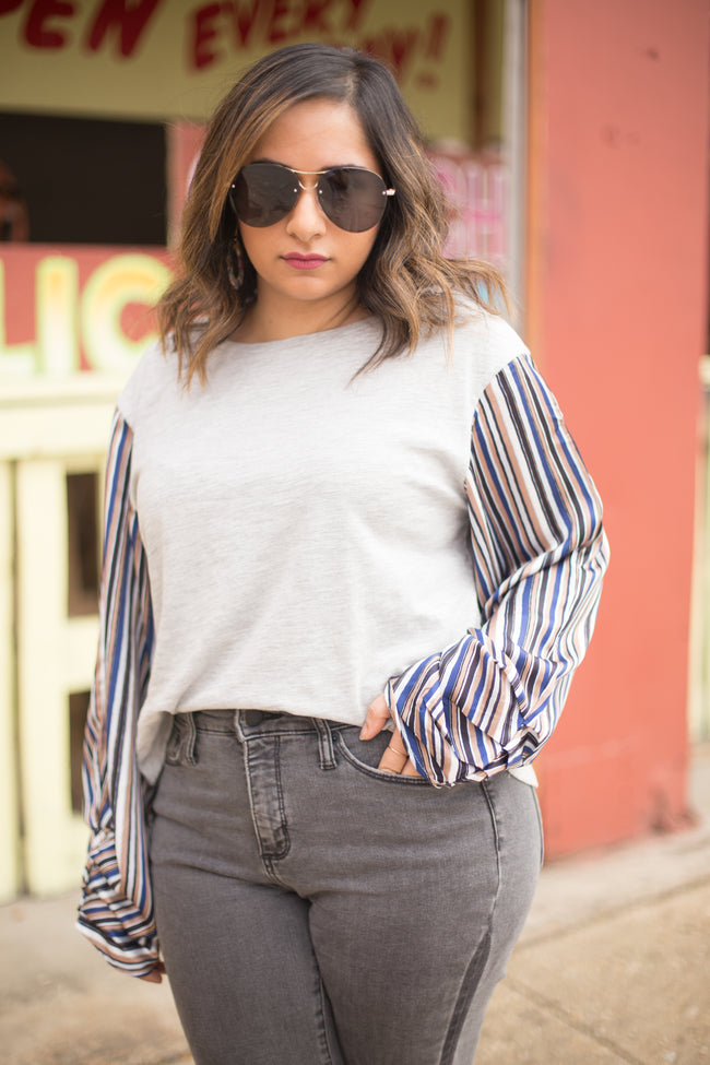Annabelle Striped Sleeves Top