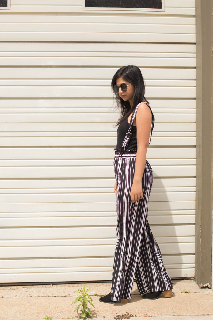 Black And White Striped Jumpsuit $39