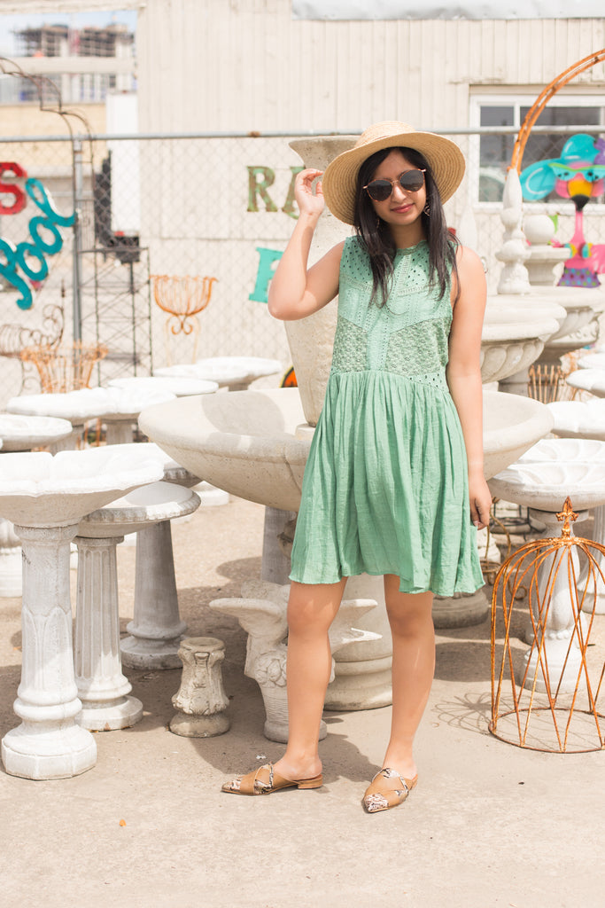 Light Green Crochet Dress $34