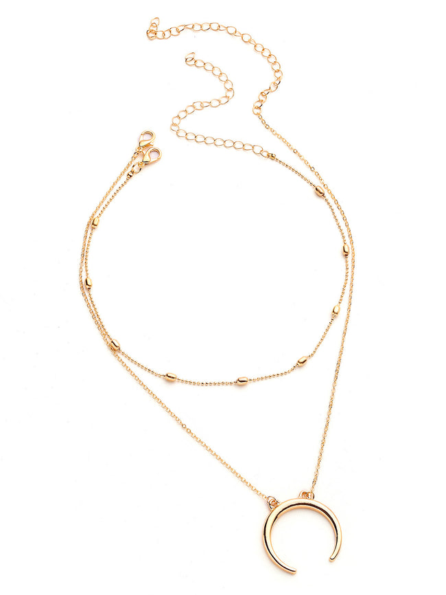 gold dainty half moon necklace with choker