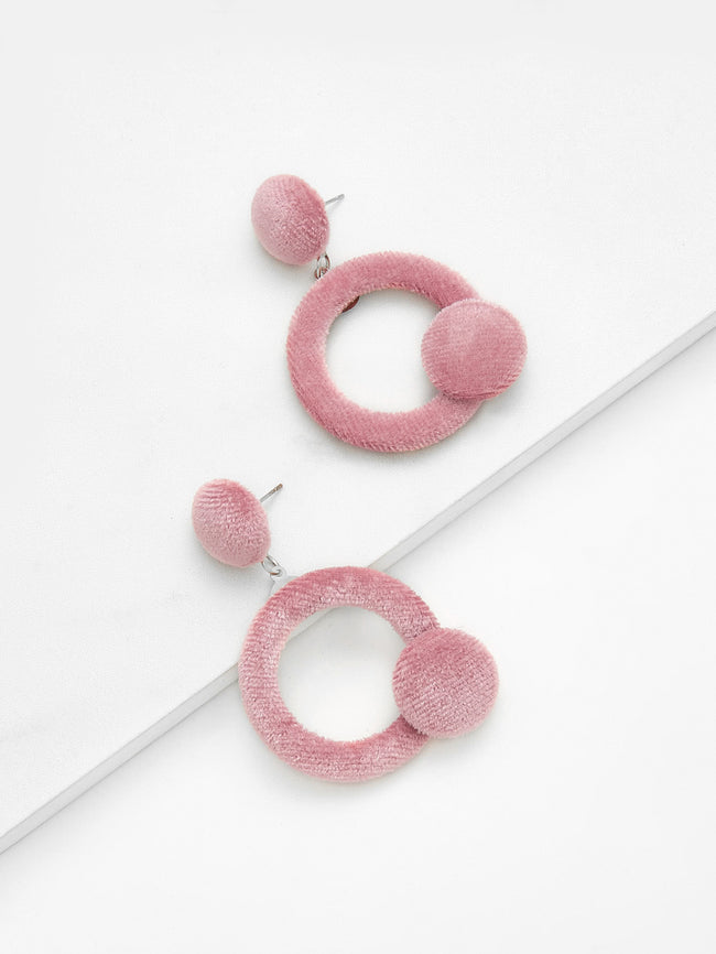 blush velvet circle earrings