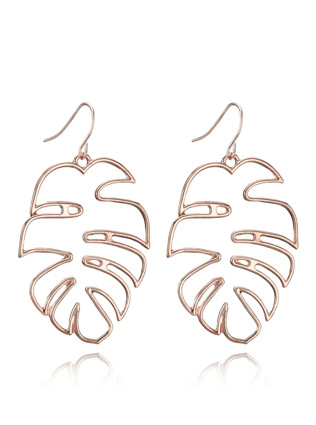 Cut Out Tropical Plant Leaf Earrings