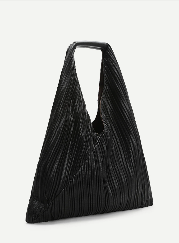 Black Pleated Tote Bag Product Shot $30