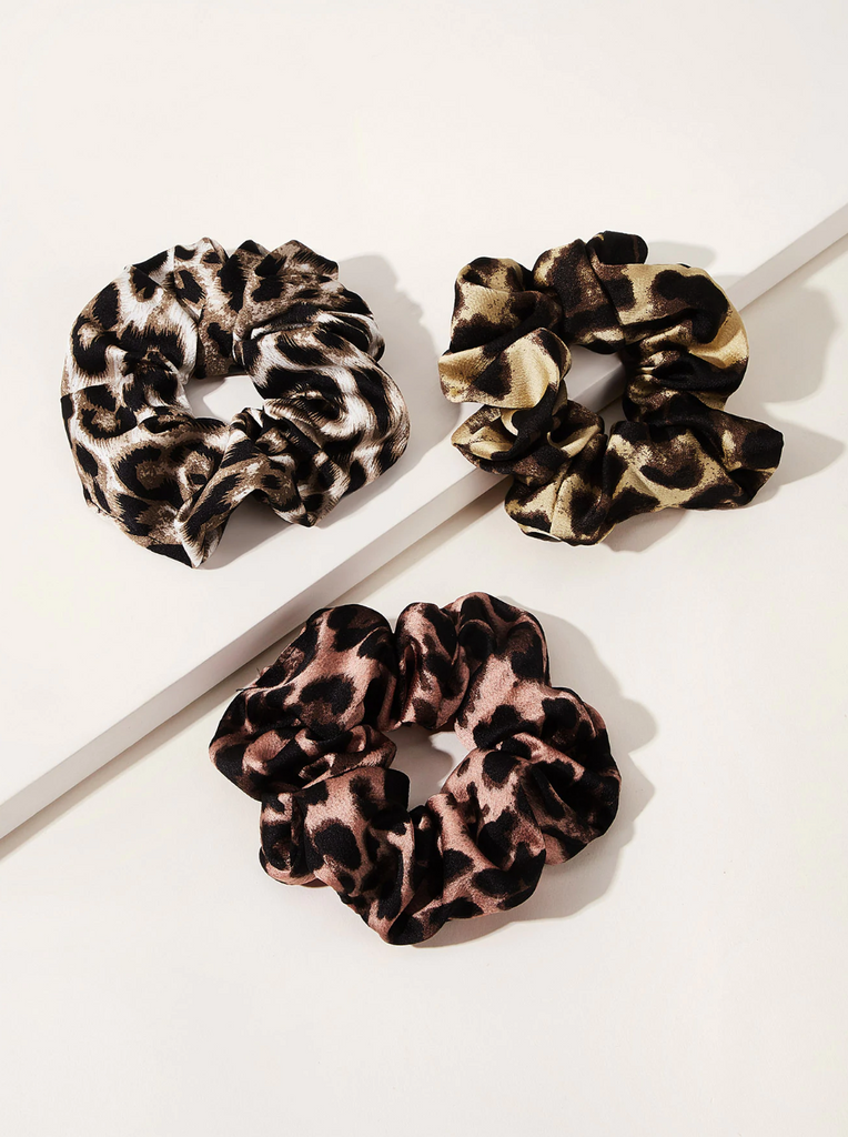 Pink, Brown and Tan Leopard Print Scrunchies $5