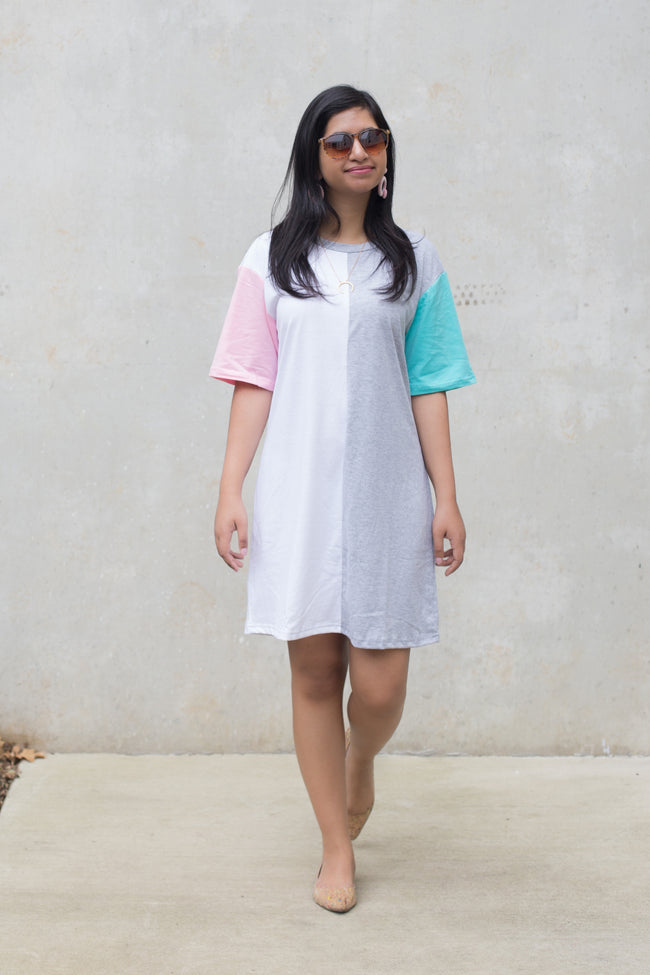Brooklyn Color Block Tshirt Dress