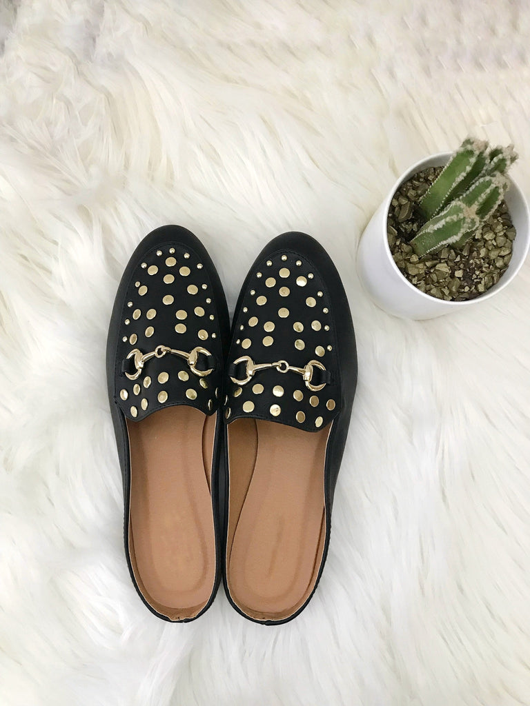 Black Mule Shoe with Gold Studs $33